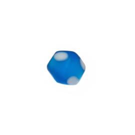 Mat blauwe glaskraal met witte stippen