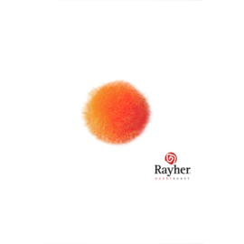 Oranje pompon 15 mm van Rayher