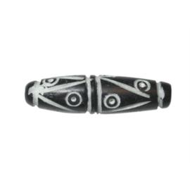 Zwart-witte benen kraal met versiering