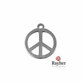 Silver colored metal deco hanger Peace