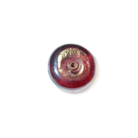 Paarsbruine, discusvormige glaskraal , luster