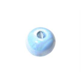 Turquoise ronde kraal van keramiek