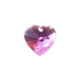 Roze polyester hart facet hanger