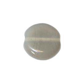 Grijze, platte, ronde glaskraal