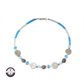 Necklace made with frosted white and frosted blue beads