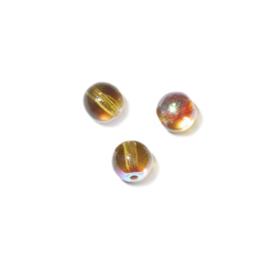 Bruingele, ronde kraal met olieglans