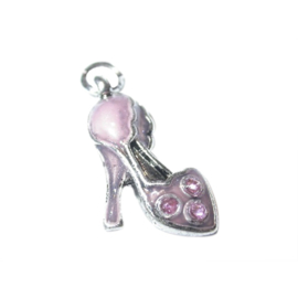 Shoe charm made of metal with pink