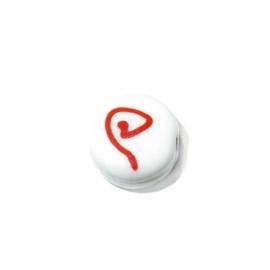 Witte ronde platte glaskraal met rode tekening