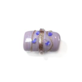 Italian Style paarse glaskraal met goudkleurige versiering