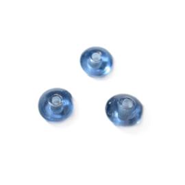 Blauwe, discusvormige glaskraal