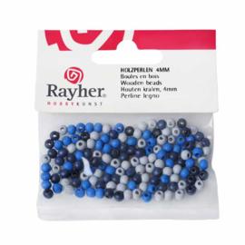 Mix van blauwtinten houten ronde kraal 4 mm, gepolijst in ZB-zak