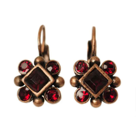 Copper colored Earrings with red stones