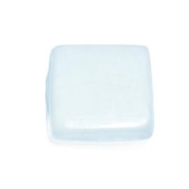 Lichtblauwe platte glaskraal, 1 draaduitgang