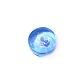 Blauwe transparante platte schijf, glaskraal