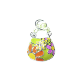 Bag Charm made of metal with green and yellow and orange