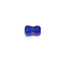 Blauwe diaboolvormige glaskraal