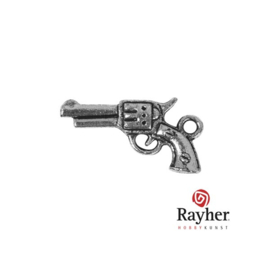 Silver colored metal deco hanger Pistol
