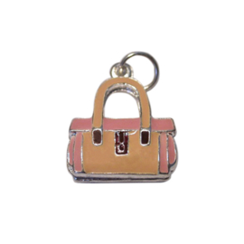 Bag charm made of metal with pink and light yellow