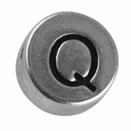 "Silver colored metal letter bead ""Q"" from Rayher"
