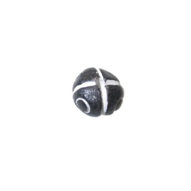 Zwart witte ronde kraal van keramiek