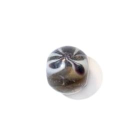 Doorzichtige ronde glaskraal met zwart en wit
