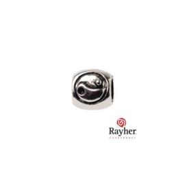 Zilverkleurige metalen kraal met Yin yang achtige versiering