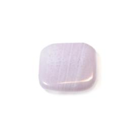 Platte, paarse glaskraal met 2 draadopeningen