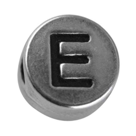 "Silver colored metal letter bead ""E"" from Rayher"