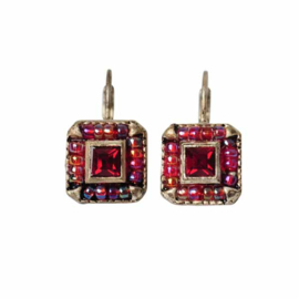 Square-shaped Earrings with red beads