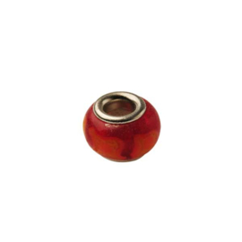 Glass bead with red and orange stripes