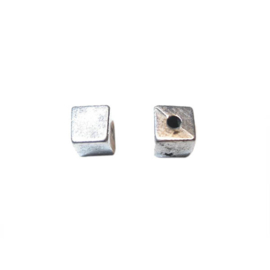 Silver colored Square bead with metal coating