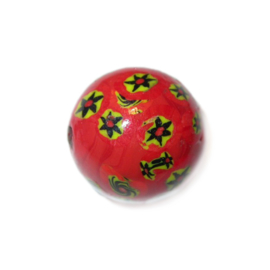 Round, Red  glass bead, with yellow and black stars