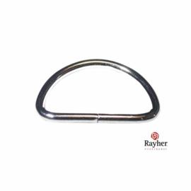 Zilverkleurige tas ring halfrond voor riem van 2,5 cm