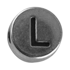 "Silver colored metal letter bead ""L"" from Rayher"