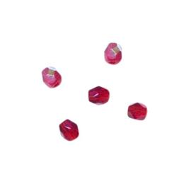 Robijn, glazen facetkraal 4 mm