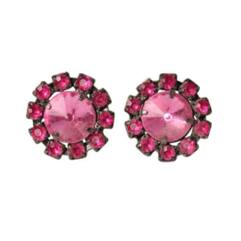 Earrings with pink stones.