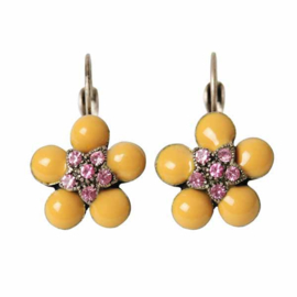 Earrings with yellow and pink stones, in flower form