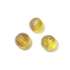Gele ronde glaskraal met olieglans