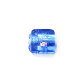 Blauwe, tranparante platte, vierkante glaskraal