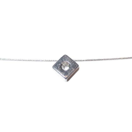 Square metal pendant with rhinestone