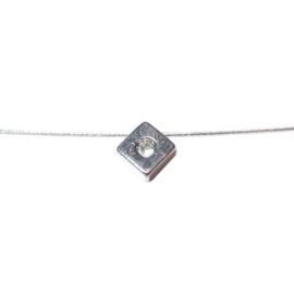 Vierkant metalen hangertje met plaksteentje