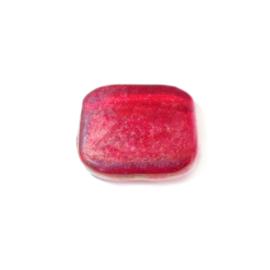 Rode, vierkante, platte glaskraal luster,
