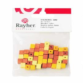 Gele tinten houten vierkante kraal 6 mm van Rayher