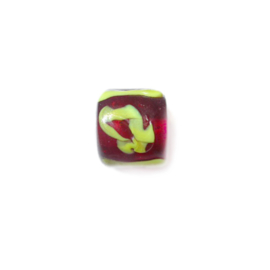 Red glass bead with yellow painting