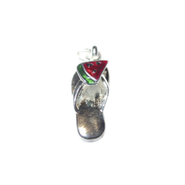 Flip flop with fruit Charm, made of metal with red