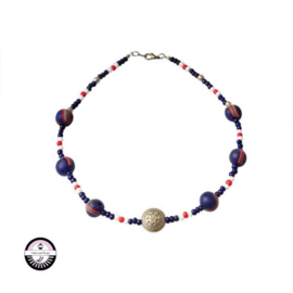 Necklace with blue, white and red glassbeads