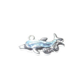 Dolphine Charm made of metal with light blue