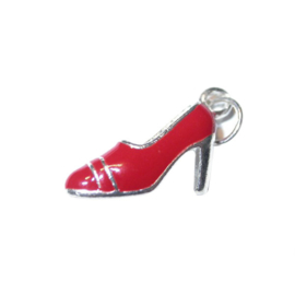 Shoe charm made of metal with red in Pump form