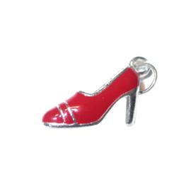 Schoen bedel van metaal met rood, in vorm van pump