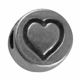 "Silver colored metal letter bead ""heart"" from Rayher"